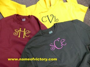 Embroidered Initial on T Shirts